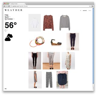 Apparel options for a 56-degree day from wevther.com.