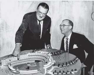 The Artful Dodger - Photo 1 of 4 - Dodgers owner Walter O'Malley shows a model of his stadium to Yankees owner Del Webb.