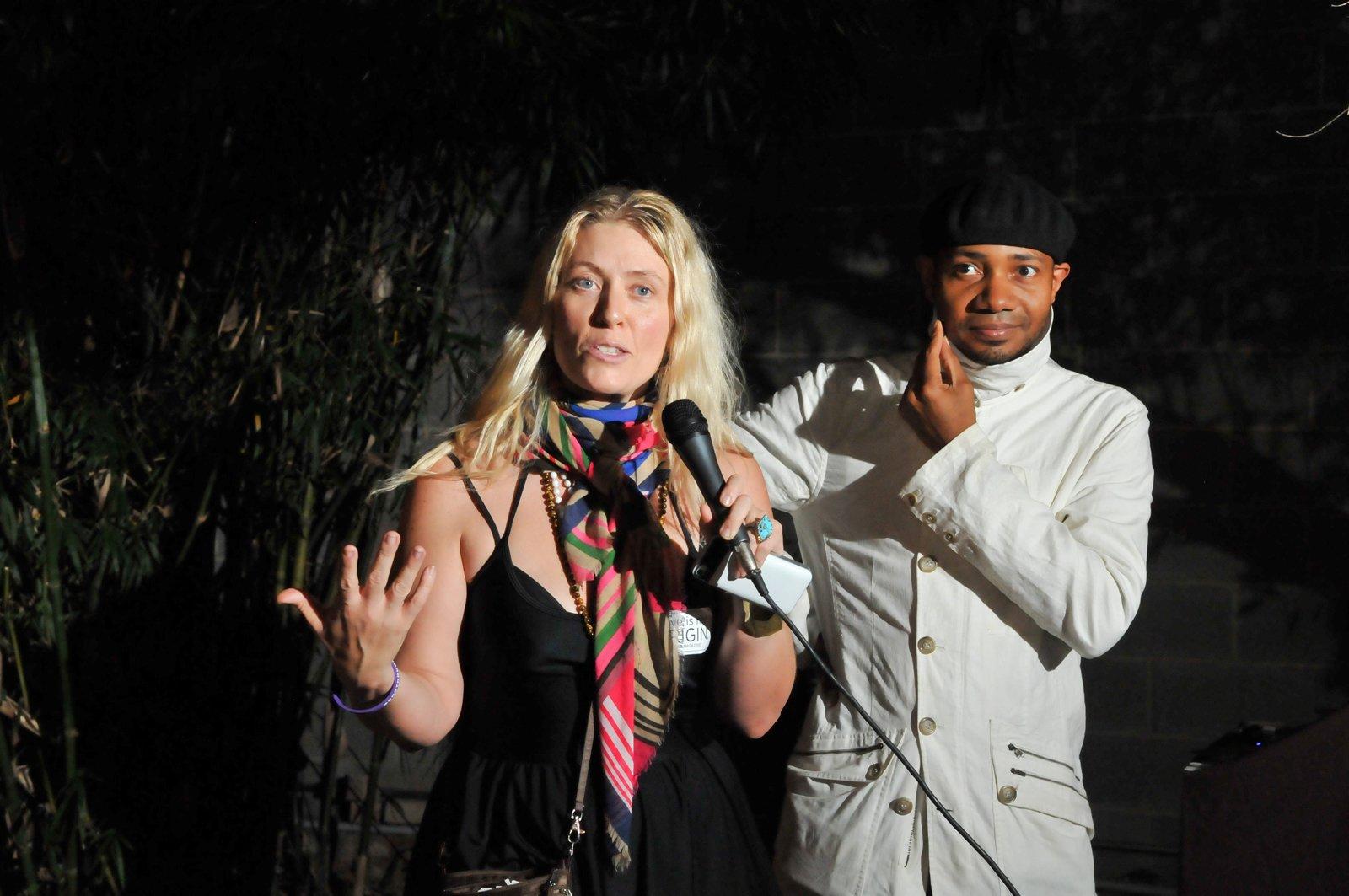 Maranda Pleasant, publisher of Origin Magazine, introduces the award-winning DJ Spooky (Paul Miller).  Photo 18 of 20 in Dwell Party Highlights: Celebrating Prefab Design at SXSW Eco