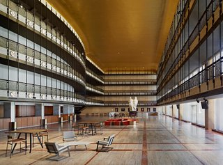 The Promenade of the David H. Koch Theater featuring seating collections designed by Token (foreground), Egg Collective (middle), and Asher Israelow (background). Photo by Frank Oudeman