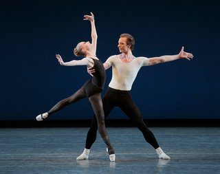 The Ballet's Crown Jewels - Photo 5 of 6 - Janie Taylor and Ask la Cour in George Balanchine's Stravinsky Violin Concerto. Designers Will Kavesh and Emrys Berkower of Token mimicked dancers' legs for the steel legs of their tables. Photo by Paul Kolnik.