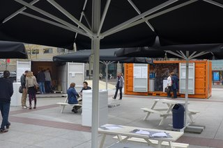One of the container parks here in the front of city hall with shops, exhibits, food stalls and a proper café.