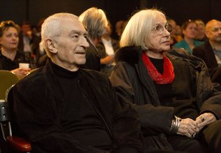 Massimo and Lella Vignelli listen to an introduction by Architecture & Design Film Festival Director Kyle Bergman.