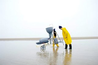 Studio Swine and Kieren Jones demonstrate how materials for Sea Chair are collected, harvested, and then recycled into their state-of-the art stool. The Nurdler, pictured here, serves as a hand-powered water pump and sluice that sorts micro-plastic by size and density for further processing. Jurors found this entry to best demonstrate good design with its consideration of life cycles, systems, industrial and social factors on both a local and global stage, as well as the widespread pollution problems that we collectively face. Sea Chair was launched at the Milan Furniture Fair 2012.