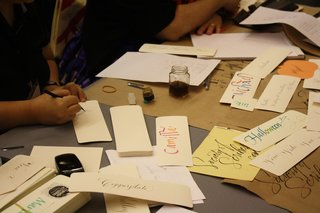 The NYC-based nonprofit Society of Scribes was on hand designing bookmarks for book fair participants.