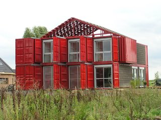 This three-bedroom home in Lille, France, is made up of eight stacked containers.