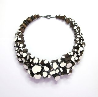 Necklace 'Stipjes', 2005-2012. Lavender wood, paint, silver. By Terhi Tolvanen. For Sale $4,725.