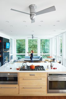 Modern Fan Company's Cirrus Hugger models help the breeze along. She had low-level Sub-Zero and Wolf appliances as well as pop-up vents installed in the kitchen so there's nothing at eye level.