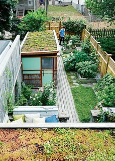 The backyard sports a sequence of raised flower and vegetable beds and two green roofs—one atop the workshop and other atop the back entrance.