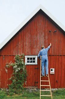 The exterior paint, Falu Rödfärg, is made locally in Falun, Sweden. It requires no primer or sealant  due to its highly pigmented, all-natural composition. Using it eliminated some supply costs associated with outdoor painting.