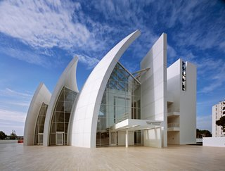 """The Jubilee Church in Tor Tre Teste, Italy, 1996-2003. (Copyright Scott Frances)<br><br>""""White is the most wonderful color because within it you can see all the colors of the rainbow. The whiteness of white is never just white; it is almost always transformed by light and that which is changing; the sky, the clouds, the sun and the moon."""""""