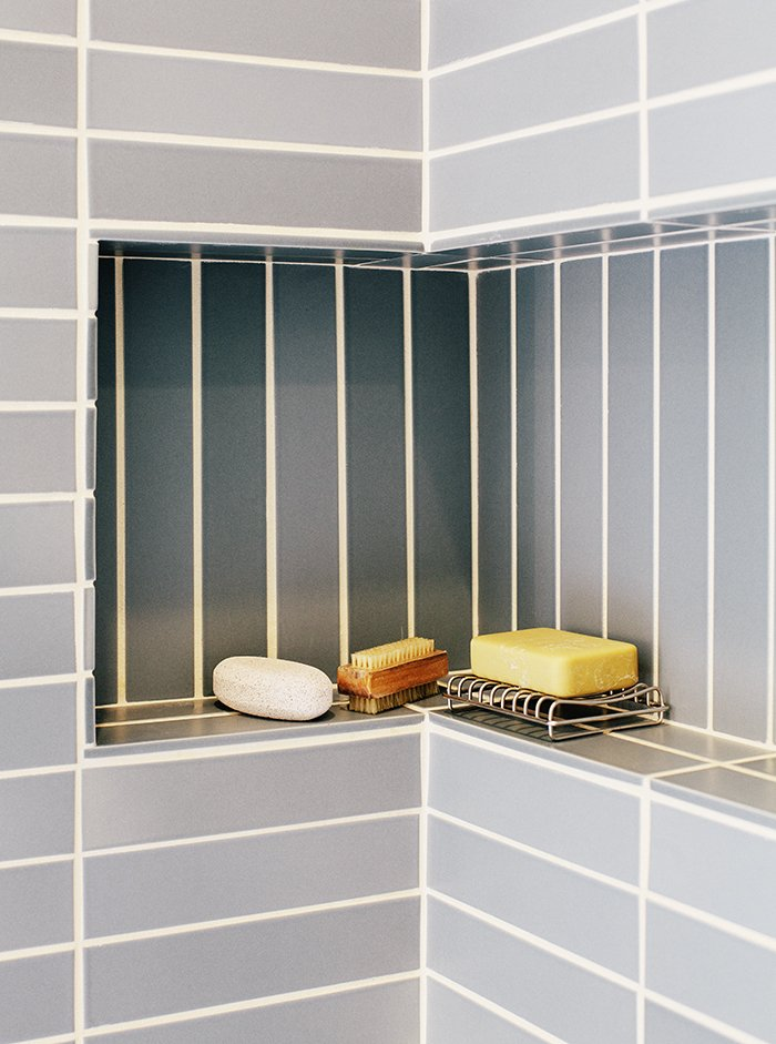 Bath Room and Ceramic Tile Wall A shallow built-in bathroom shelf.  Photo 13 of 19 in A Home with Eclectic Style Looks Just Right