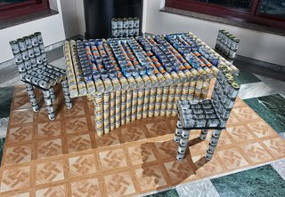 Weidlinger Associates' entry into the Canstruction competition.