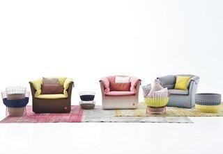 Coat armchairs and Bask storage by Sebastian Herkner for Moroso.
