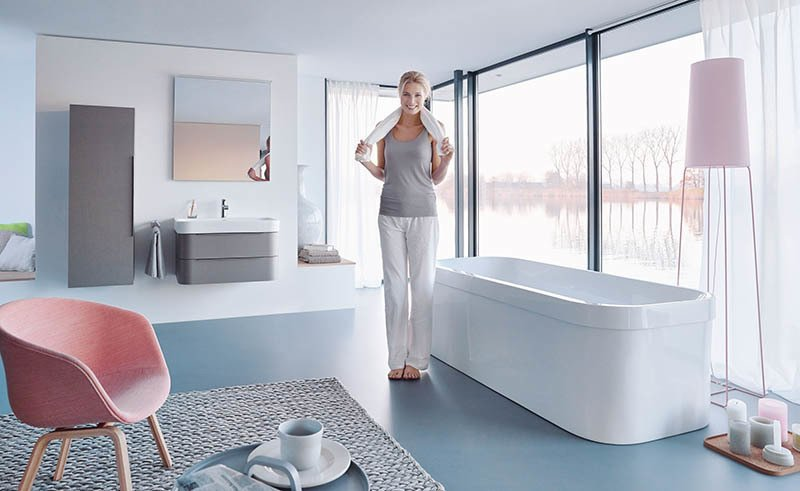 For the Happy D.2 line, Sieger Design updated its Happy D. collection from 1998. Like the initial configurations, Happy D.2 has a curvy, D-shaped silhouette. The proportions have been slightly refined and the furniture now comes in a linen-fronted option, shown here on the vanity and wall storage.  Photo 1 of 4 in ABCs of Bathroom Design with the Brothers Sieger