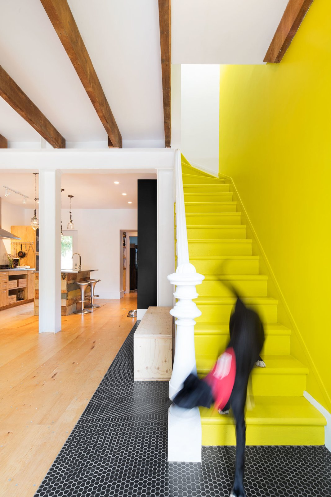 "Staircase, Wood Tread, and Wood Railing ""I always wanted to have my very own yellow brick road,"" says Viviana de Loera, whose favorite part of the home is the playful staircase. The original stairs and handrail were preserved in the renovation.  Photo 9 of 25 in 25 Bold Ways to Decorate with Yellow from How to Decorate With Yellow (Without the Smiley-Face Connotations)"