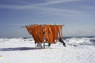 Sling Swing: WMB Studio (London and Liverpool UK)The cold can switch on survival mode in even the most rugged. This playful spin on the summer deck chair references warmer months, but arranges seats in a tight grid, allowing visitors to huddle for warmth.