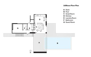 LABhaus Floor Plan<br><br>A    Deck<br><br>B    Pool<br><br>C    Great Room<br><br>D    Kitchen<br><br>E    Laundry Room<br><br>F    Bathroom<br><br>G    Guest Room