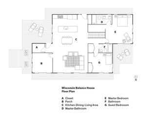 Wisconsin Balance House <br><br>Floor Plan<br><br>A    Closet<br><br>B    Porch<br><br>C    Kitchen-Dining-Living Area<br><br>D    Master Bathroom<br><br>E    Master Bedroom<br><br>F    Bathroom<br><br>G    Guest Bedrooom