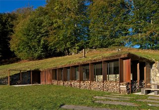 The residents store wood in the facade's recesses, which, when filled, help the building disappear into the surroundings. The architects used stone sourced from the site for the retaining wall.
