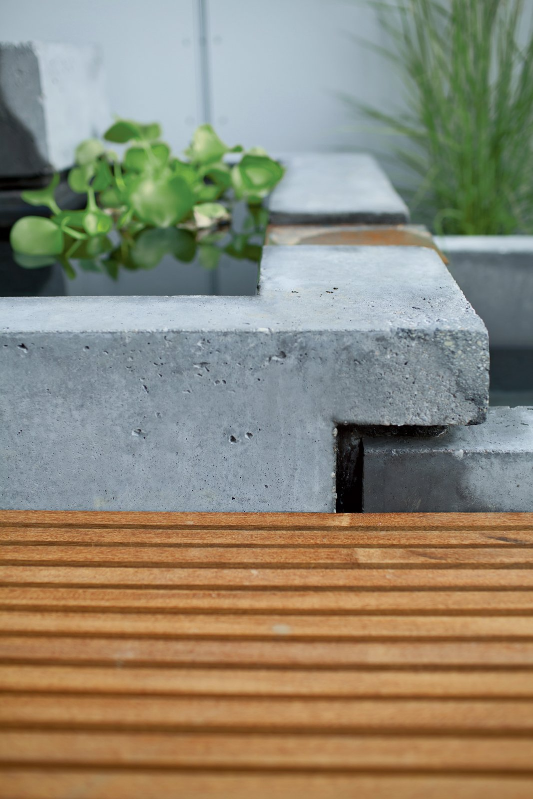 Outdoor A detail of the interlocking concrete tubs.  Photo 3 of 11 in Secret Garden