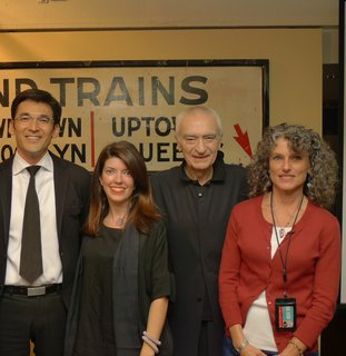 Vignelli Associates Yoshi Waterhouse and Beatriz Cifuentes, Massimo Vignelli, and Gabrielle Shubert, NYTM Director. Photo provided by the New York Transit Museum.