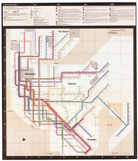 The 1972 Vignelli map. Provided by the New York Transit Museum.
