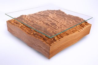 The Skyline Coffee Table, here shown in ash hardwood with glass, is a graphic interpretation of New York City, a place where Michael Rupich—whose studio is currently based in Fairfield, New Jersey—has always lived in and around.