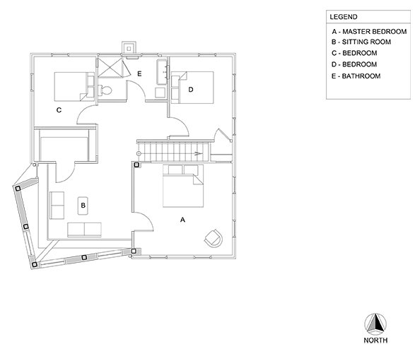 Upper level floor plan.  Photo 22 of 22 in A Mind-Bending Renovation Brings a Bold, Modern Addition to an Old Farmhouse