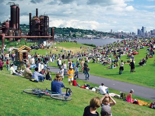 Acquired by the city of Seattle in 1962, the site of Gas Works Park was used to produce gas and crude oil. Richard Haag's 1975 design recast the industrial site as a grand park, replete with a play barn and picnic zones.