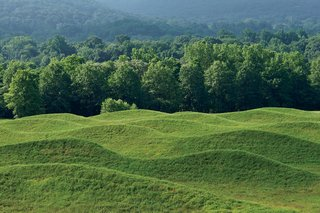 Rows of rolling earth comprise the 2009 Storm King Wavefield, the artist's largest site-specific installation.