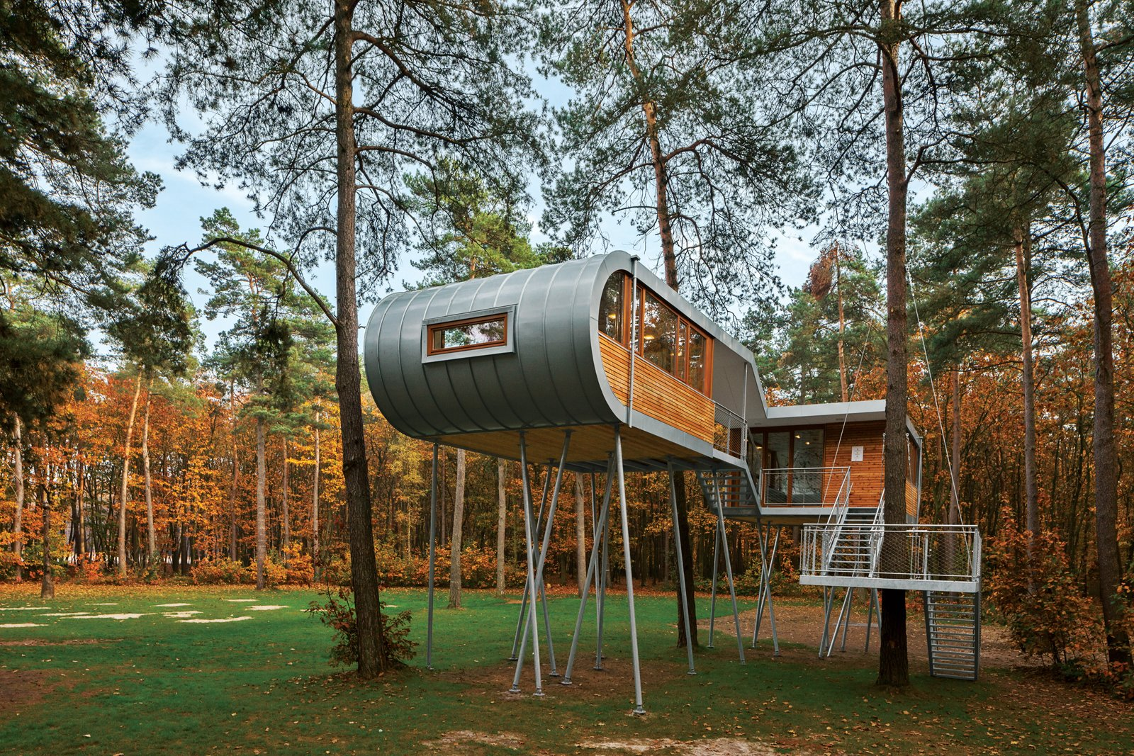 Photo courtesy Baumraum  Photo 5 of 25 in Photo Essay: Enchanting Tree Houses from A Modern Treehouse in Belgium