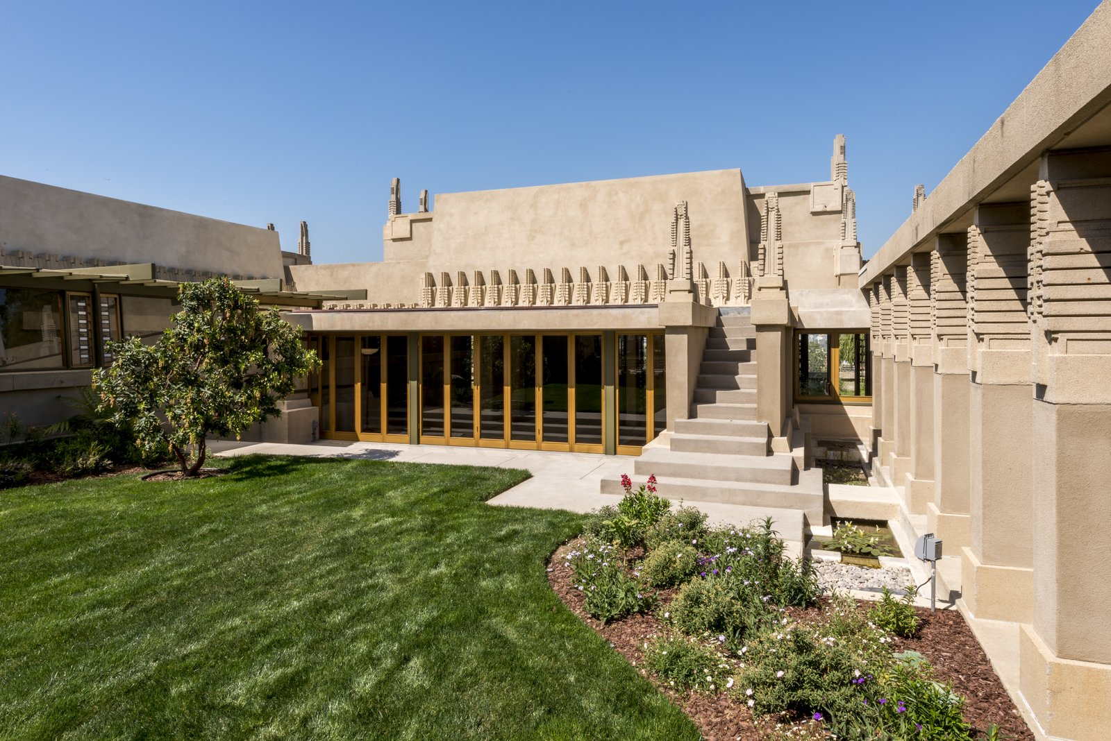 Frank Lloyd Wright's first Los Angeles project, Hollyhock House, received a meticulous repair and $4.3 million restoration, reflecting a major achievement for the City of Los Angeles and strong civic stewardship.  Photo 3 of 7 in 7 Preserved Modern Architecture Icons in Los Angeles