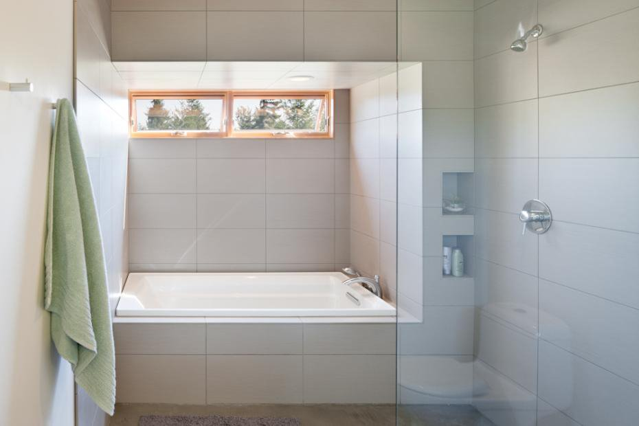 A clean and simple bathroom with a view.  Photo 9 of 11 in Modern in the Country