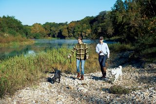 The land is adjacent to the Colorado River, along which Brown and his girlfriend, Agustina Rodriguez, walk their dogs.