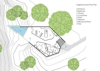 The floor plan reflects the way in which the design's angles interact with the site.