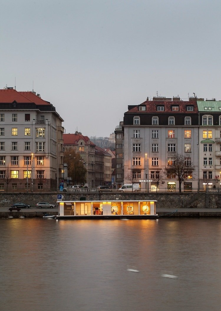 Prague's Atelier SAD designed the floating Port X concept to have a curved roof, recalling the hull of a ship.  Photo 1 of 7 in Floating Prefab Concept Rethinks the Houseboat