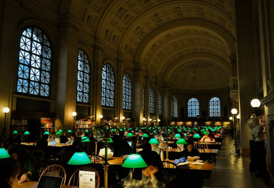 Boston Public Library in Boston, USA-Opened in 1848, the Boston Public Library is the second largest library in the United States, with over 24 million volumes. It was also the first public, free-to-all library, and the first to lend books out to patrons. So, if you've ever had to pay a 13-year-old library fine for those Goosebumps books you borrowed when you were 11, you know who to thank. Photo: R..D  Read by DAVE MORIN from Super Unique Libraries Around the World