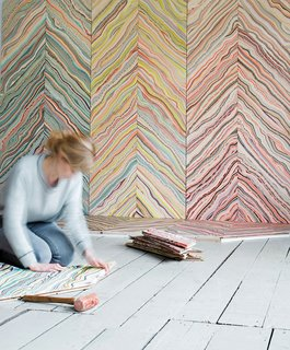 Marbelous Wood by Snedker Studio. Danish designer Pernille Snedker Hansen's custom installations involve treating local Nordic wood with a marbling effect in toned-down hues.