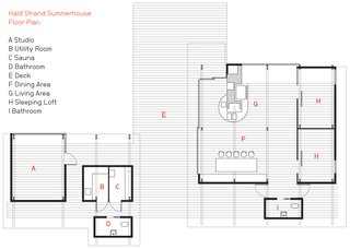 A Playful Summer Home with Some Serious Angles - Photo 3 of 5 - The Hald Strand Summerhouse floor plan.
