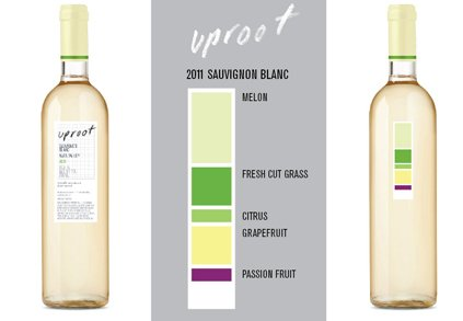 Uproot Wine  Uproot Wines uses a color bar to visually represent its sustainably-farmed Sauvignon Blanc's tasting notes on the label, which makes it easier to identify tasting notes. $42  Photo 1 of 3 in Product Spotlight: Uproot Wines