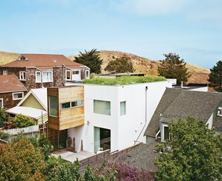 A flat roof in San Francisco allowed for an occupiable green roof, which is a strong contrast to its more traditionally-shaped neighbors that have gabled roofs and dormers.