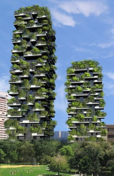 Pair of Skyscrapers Sneak a 2,800-Plant Park into Milan