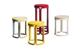 Colored stools Malouin crafted solely from fabric, with no interior skeleton for Kvadrat.