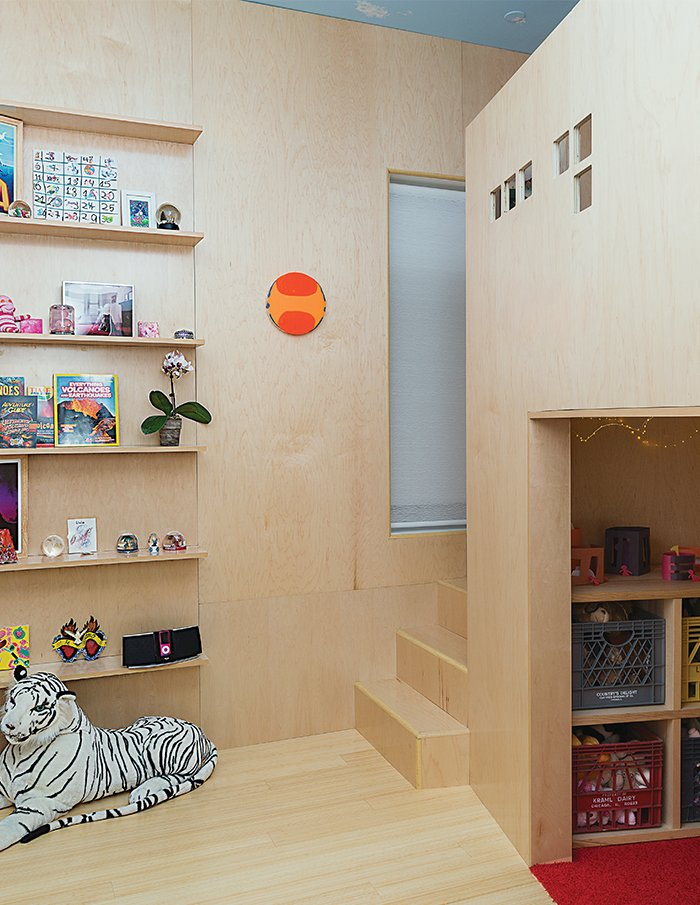 Kids Room, Playroom Room Type, Storage, Light Hardwood Floor, Bedroom Room Type, and Shelves The design team used 3/4-inch PureBond Maple plywood from Columbia Forest Products, featuring formaldehyde-free, soy-based assembly.  Photo 9 of 12 in Sustainability Guided Every Decision at this Town House Remodel in Harlem