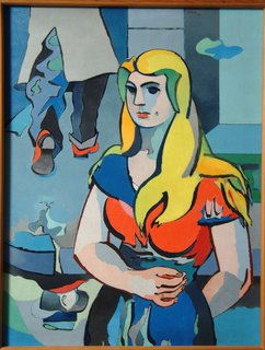 Peru Community Schools Art Gallery: The G. David Thompson Collection - Photo 6 of 7 - La Fille au Reflect D'Homme oil by Jean Helion— This oil by noted French abstract artist Jean Helion is the cover image for the new Peru Community Schools Art Gallery.