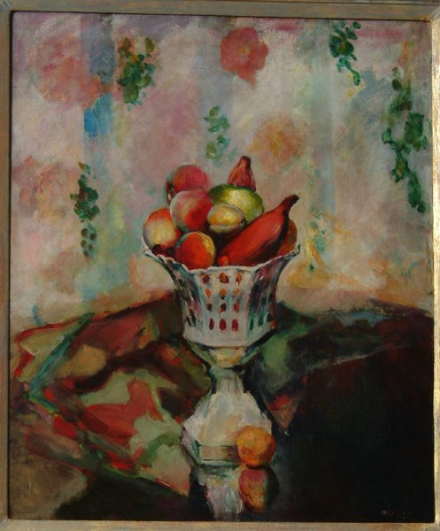"Bowl of Fruit oil by Arthur Beecher Carles—When it came to showing his art collection at museums, G. David was adament on how his art would be displayed. For the ehibition at the Guggenheim Museum in the 1960's, he wrote the catalog introdution himself; ""Taste and experience play an important role. During the years I classified art as abstract or realistic and by schools such as DaDa or Surrealist. Today I recognize but two kinds....good art and bad art."""