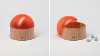 Small Pot, 2011, $130—Hide away all bits and bobs wth these discrete, easy timber and acrylic orange dome-topped pots.