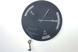 I've seen chalkboard clocks before, but never one with magnets built in to keep keys tidy and easy to find. Stefán Pétur Sólveigarson's Chalkboard Keyclock is a clever accessory to keep the day running smoothly.  Especially if your home is space-limited and you need everything in it to pull double duty. This clock and another with a minimalist wood face are hand routered by the designer and lasercut. They will start appearing in Reykjavik shops in April. Photo by: Tiffany Orvet