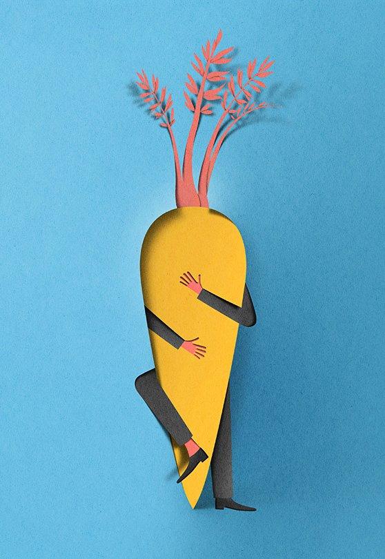 Hunger for Love—Illustration for Estonian weekly newspaper, Eesti Ekspress, about eating behaviors.  Graphic Designer We Love: Eiko Ojala by Eujin Rhee
